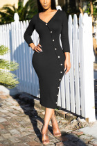 Black Sexy Solid Split Joint Buttons V Neck Pencil Skirt Dresses