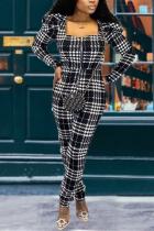 Black White Street Plaid Split Joint Square Collar Skinny Jumpsuits