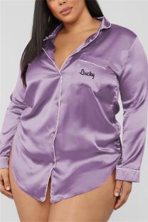 Purple Fashion Sexy Solid Lapel Long Sleeve Nightdress