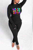 Black Casual Letter Print Split Joint O Neck Long Sleeve Two Pieces