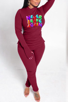Wine Red Casual Letter Print Split Joint O Neck Long Sleeve Two Pieces