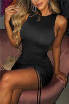 Black Fashion Sexy Solid Draw String Strap Design O Neck Vest Dress