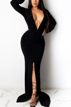 Black Sexy Solid Split Joint V Neck Pencil Skirt Dresses
