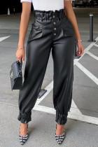 Black Fashion Casual Solid Basic Regular High Waist Trousers