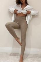 Khaki Sportswear Solid Split Joint Regular High Waist Pencil Bottoms