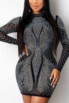 Black Sexy Geometric Split Joint See-through Hot Drill O Neck Pencil Skirt Dresses