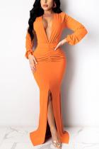 Orange Sexy Solid Split Joint V Neck Pencil Skirt Dresses