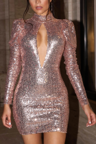 Champagne Sexy Patchwork Sequins Half A Turtleneck Wrapped Skirt Dresses