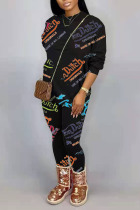 Black Casual Letter Printing O Neck Long Sleeve Two Pieces