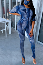 Blue Street Patchwork Tie-dye O Neck Long Sleeve Two Pieces