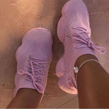 Pink Casual Sportswear Bandage Round Sport Shoes
