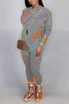 Grey Casual Letter Printing O Neck Long Sleeve Two Pieces