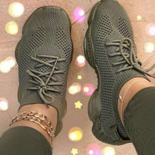 Green Casual Sportswear Bandage Round Sport Shoes