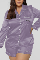 Purple Casual Living Solid Embroidered Turtleneck Long Sleeve Two Pieces