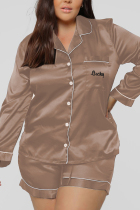 Light Brown Casual Living Solid Embroidered Turtleneck Long Sleeve Two Pieces