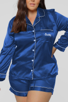 Blue Casual Living Solid Embroidered Turtleneck Long Sleeve Two Pieces