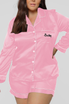Pink Casual Living Solid Embroidered Turtleneck Long Sleeve Two Pieces