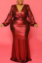 Red Sexy Solid V Neck Evening Dress Dresses