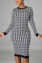 Black White Casual Plaid Split Joint O Neck Wrapped Skirt Dresses
