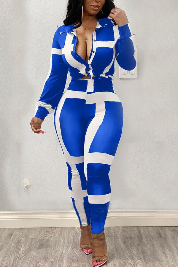White and blue Polyester Casual Striped Two Piece Suits Print pencil Long Sleeve