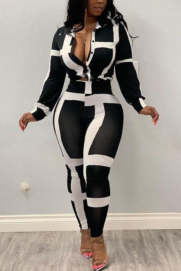 Black and white Polyester Casual Striped Two Piece Suits Print pencil Long Sleeve