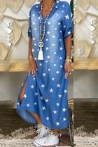 Blue Casual Print Split Joint Turndown Collar Dresses