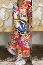 Multicolor Casual Print Split Joint Turndown Collar Dresses