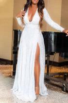 White Sexy Solid Split Joint V Neck Evening Dress Dresses