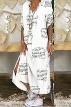 White Casual Print Split Joint Turndown Collar Dresses