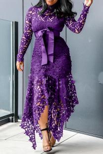 Purple Sexy Patchwork Split Joint Half A Turtleneck Irregular Dress Dresses