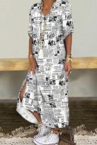 Black White Casual Print Split Joint Turndown Collar Dresses