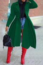 Dark Green Elegant Solid Split Joint Turndown Collar Outerwear