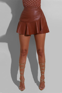 Brown Fashion Patchwork Solid Asymmetrical Skirts