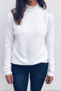 White Polyester Peter Pan Collar Long Sleeve Solid Patchwork  Sweaters & Cardigans