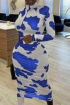 Blue Casual Print Split Joint Zipper Collar Pencil Skirt Dresses