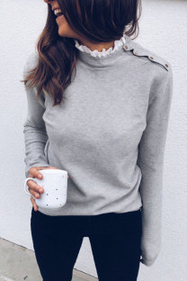 Grey Polyester Peter Pan Collar Long Sleeve Solid Patchwork  Sweaters & Cardigans
