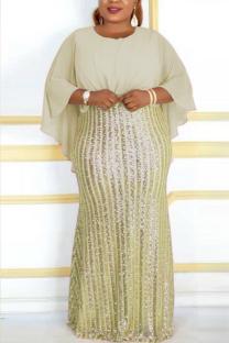 Beige Fashion Sequins Patchwork Chiffon Bat Sleeve Evening Dress