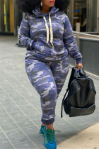 Camouflage Fashion Casual Camouflage Print Basic Hooded Collar Plus Size Set