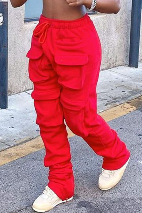 Red Sweet Solid Pocket Straight Bottoms
