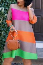 Colorful Fashion Casual Striped Printed Loose Dress