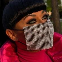 Black Fashion Patchwork Rhinestone Face Mask