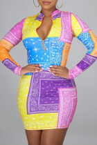 Multicolor Fashion Sexy Print Basic Zipper Collar Long Sleeve Dresses