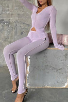 Light Purple Fashion Casual Solid Split Joint U Neck Long Sleeve Two Pieces