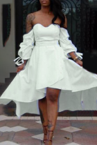 White Sweet Solid Flounce Bateau Neck Irregular Dress Dresses
