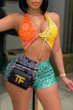 Orange Yellow Fashion Sexy Patchwork Print Backless Halter Sleeveless Two Pieces