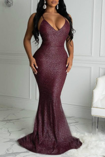 Wine Red Fashion Sexy Solid Backless V Neck Sling Evening Dress