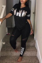 Black Casual Print Sequins Letter O Neck Short Sleeve Two Pieces