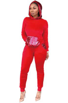 Red Polyester Drawstring Long Sleeve Mid Patchwork Sequin Solid pencil Pants  Two-piece suit