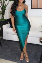 Green Fashion Sexy Solid Backless Slit Spaghetti Strap Evening Dress