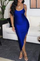 Blue Fashion Sexy Solid Backless Slit Spaghetti Strap Evening Dress